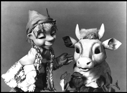 Jack and the Beanstalk puppets in black and white