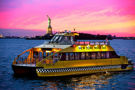 New York Water Taxi at Night