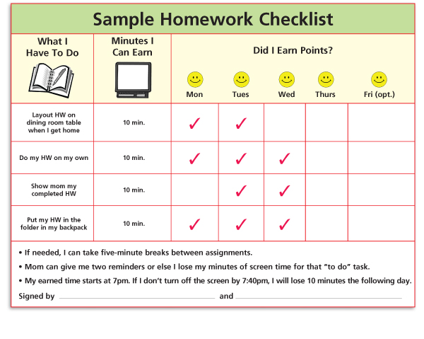 homework checklist for students