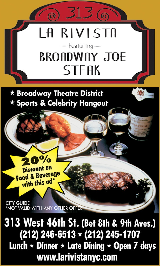 La Rivista featuring Broadway Joe Steak  - 20% off food and drinks  Expires: 6/30/2017