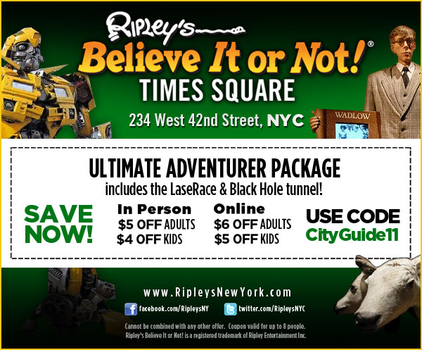 There are 17 Ripleys Believe It or Not discount codes for you to consider including 17 sales. Most popular now: 33% Off Ripley's Gatlinburg Aquarium U-Pick Combo Tickets. Latest offer: $3-$10 Off Ripley's St. Augustine Combo Tickets.