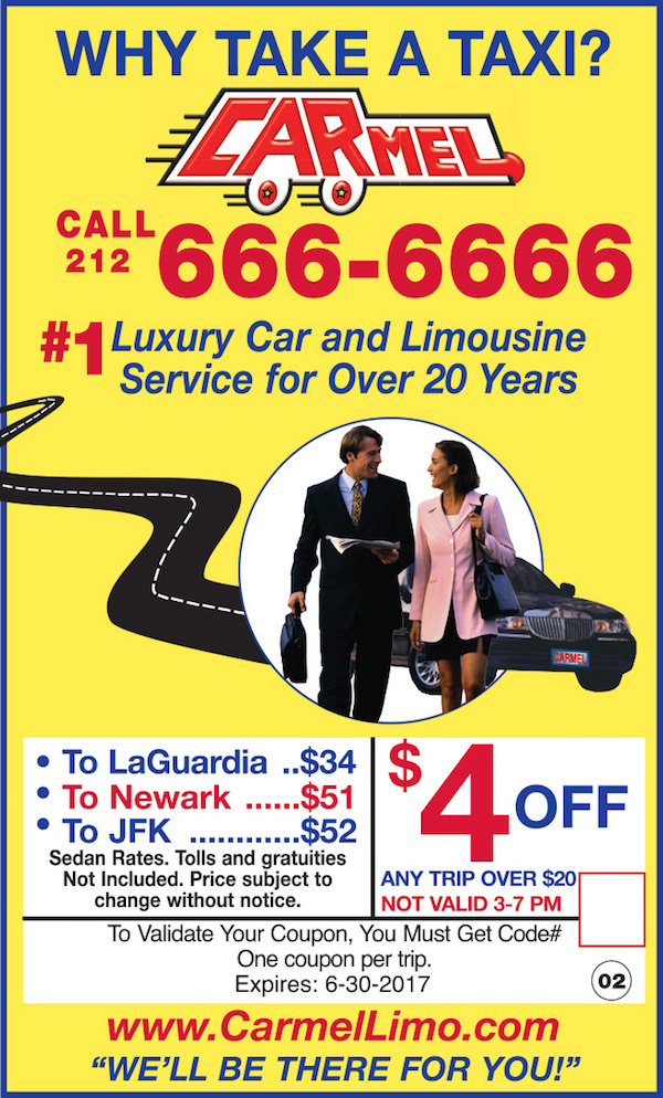 Carmel Car & Limousine Service  - $4 off any trip over $20. Not valid 3pm-7pm. Expires: 6/30/2017