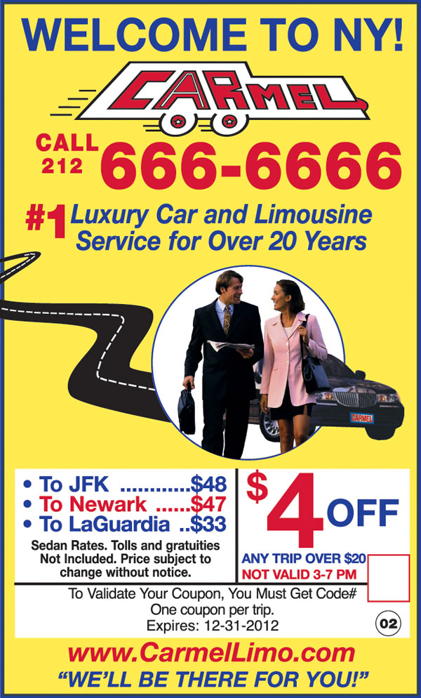 Carmel car service discount coupon