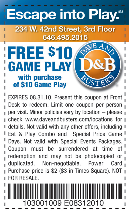 photograph regarding Dave and Busters Coupons Printable called Dave and busters coupon $20 cost-free match enjoy / Retailer on the net