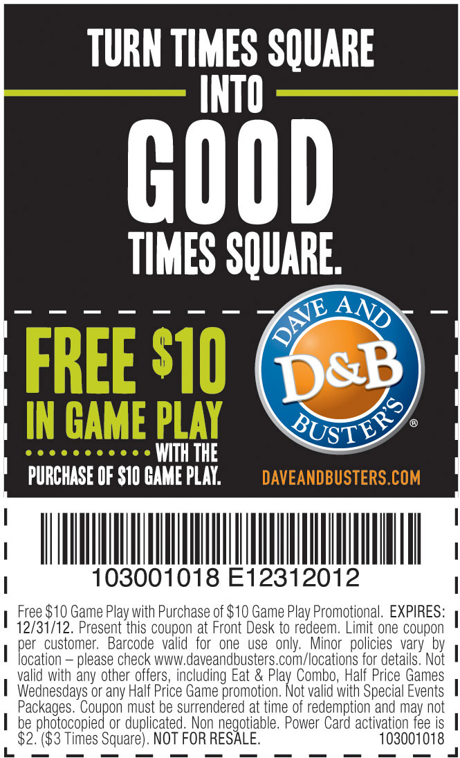 picture about Dave and Busters Coupons Printable named Dave and buster bargains / Least complicated get fresh merchandise