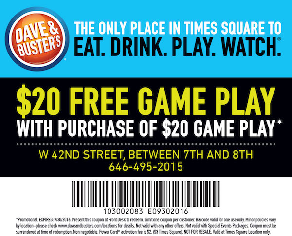 How to use a Dave and Busters coupon