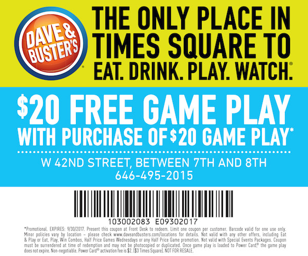 dave and busters printable coupons dave and busters printable coupons recent deals 21305 | DaveandBusters half 0817 copy