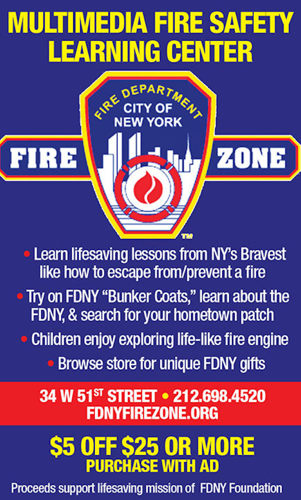 FDNY Fire Zone  - $5 off $25 or more purchase with ad.  Expires: 6/30/2017