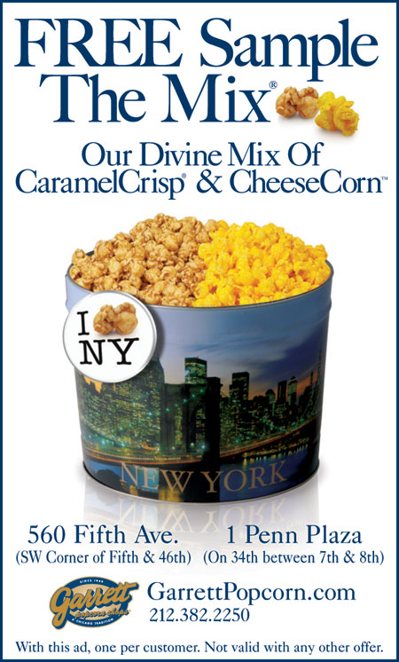 Garrett Popcorn shops caters to local tastes in their hometown of Chicago, creating unique recipes such as their Chicago Mix, a sweet and savory mix of their CaramelCrisp and CheeseCorn popcorn flavors. Use Garrett Popcorn Shops' coupon codes for deals on .