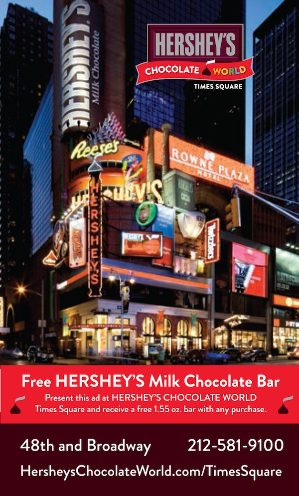 Hershey's Chocolate World Times Square - Free Hershey's Milk Chocolate bar with purchase.  Expires: 12/31/2016