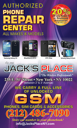 Jack's Place  - Take 20% off repairs or purchased accessories with this ad. Expires: 12/31/2016