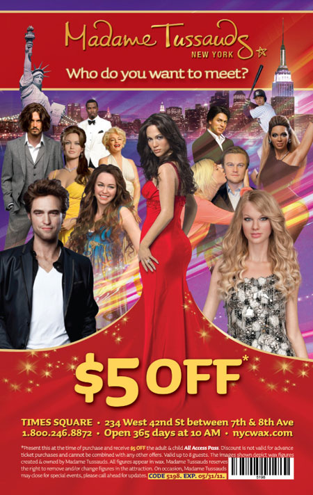 Madame Tussauds New York offers three main ticket packages. The cheaper ticket option is our Silver ticket. This ticket includes admission to the Madame Tussauds attraction where you can get up close and personal to over 5 floors of lifelike wax figures!