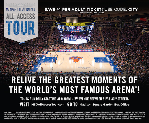 Madison Square Garden All Access Tour  - Save $4 off adult ticket admission to MSG All Access Tour-limit 14 tickets per order.  Expires: 6/30/2017