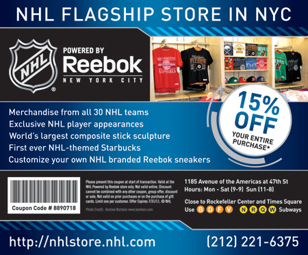 NHL Shop Coupons, Promo Codes, and Discounts. NHL fans! Revamp your wardrobe with your favorite NHL team's officially licensed gear, apparel and merchandise at great low rates from cinema15.cf! Thanks to the exclusive discounts available on the NHL Shops official coupon page, you can save money on all your favorite NHL products, including.