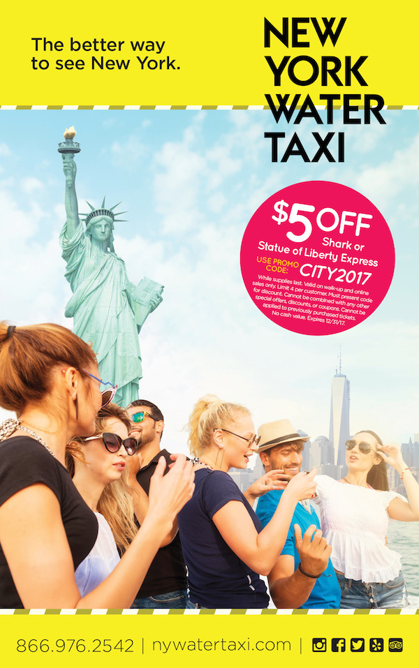 New York Water Taxi  - $5 off Shark or Statue of Liberty Express  Expires: 12/31/2017