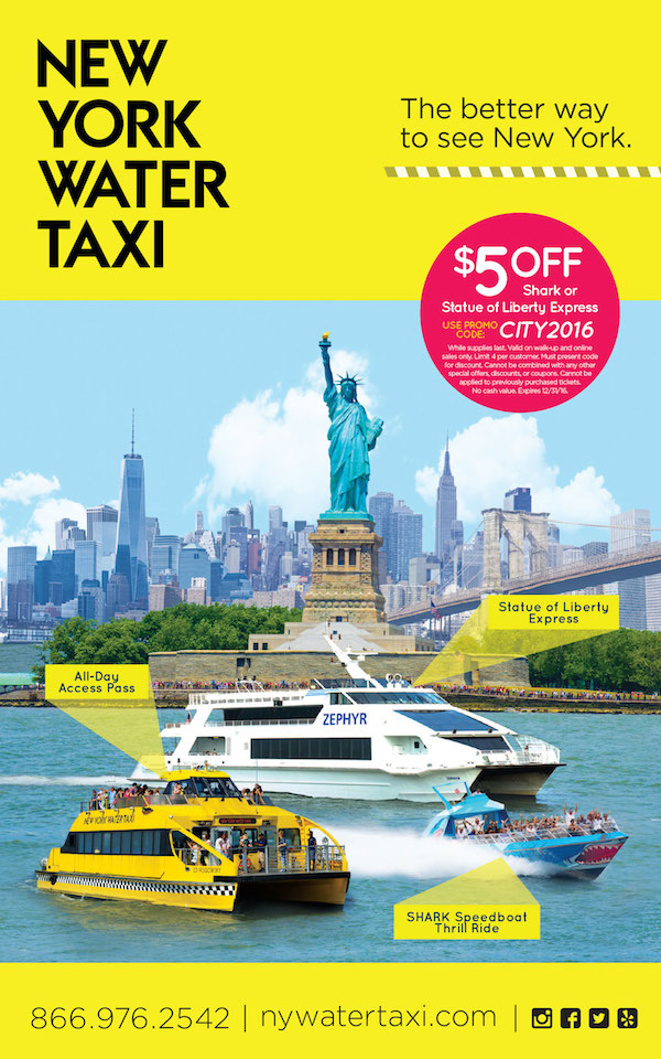 New York Water Taxi  - $5 off Shark or Statue Liberty Express.  Expires: 12/31/2016