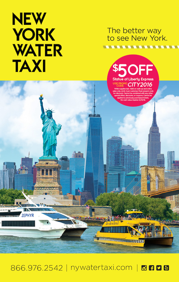 New York Water Taxi  - $5 off Statue Liberty Express. Expires: 12/31/2016