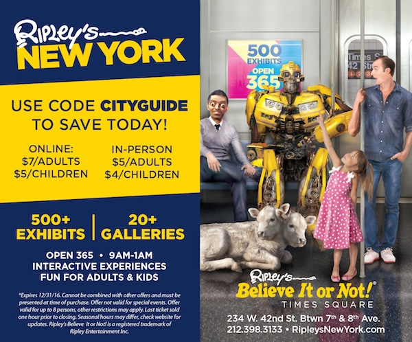 Ripley's Believe it Or Not! Times Square  - 20% off admission Expires: 12/31/2016