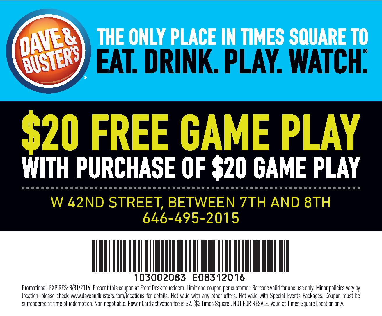 Dave and busters online printable coupons