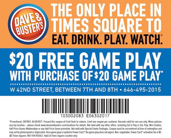 dave and busters printable coupons dave and busters coupons 20 2018 i9 sports 21305 | davenbusters630
