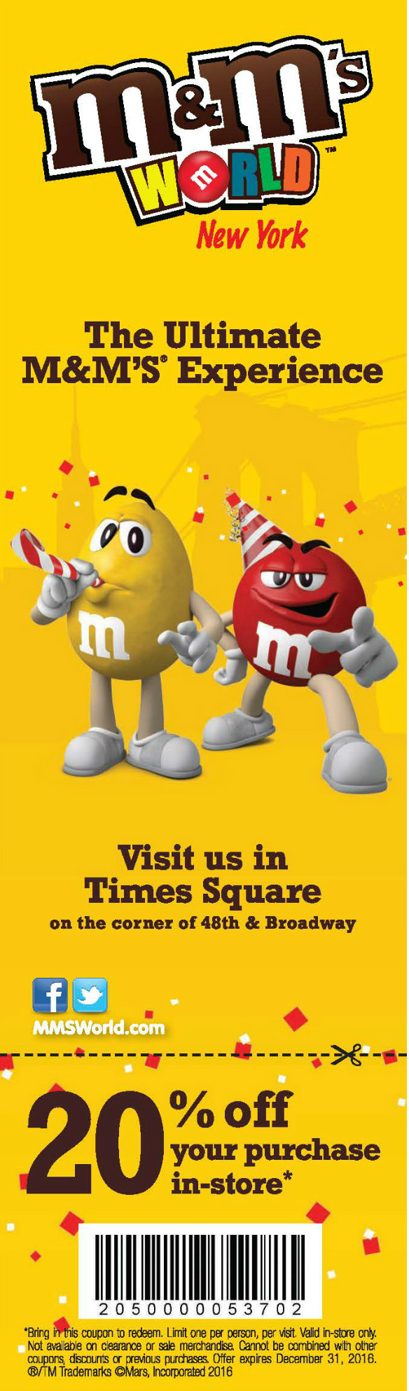 M&M'S World New York - 20% off your purchase in-store Expires: 12/31/2016