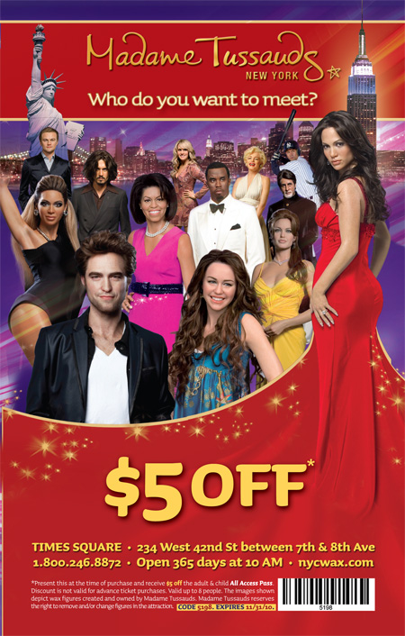 Madame tussauds london coupons discount