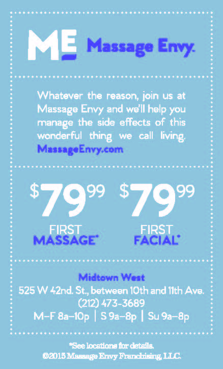 Massage Envy  - $79.99 first massage or facial, with this coupon.  Expires: 6/30/2017