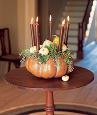 gourd-topped candelabra