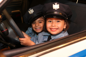 100.7 WHUD Kids Fair; children in police uniforms; kids police cotumes; kid cops