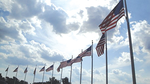 Washington, DC; American flags; USA
