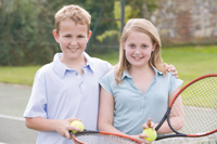 free tennis lessons in Brooklyn; girl and boy playing tennis