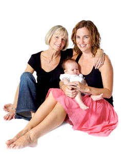 three genrations of women; grandmother, daughter, and grandchild, baby
