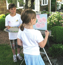 children's plein air workshop; child painting; girl painting; artist