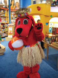 Clifford the Big Red Dog; beach party; hula skirt; lei; summer