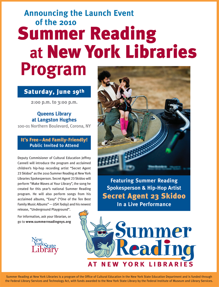 New York State Library; 2010 Summer Reading Program; launch event; Queens Library; Langston Hughes