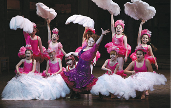 Alex Ko (Billy) and Kate Hennig (Mrs. Wilkinson) with the Ballet Girls in Billy Elliot the Musical on Broadway