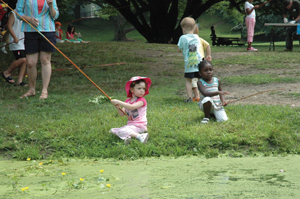 R.H. Macy's Annual Fishing Contest, Brooklyn, NY; kids fishing; children fishing