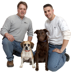 R. Dana Pest Control's K-9 Scent Detection Team: Richard Effaldana, Steven Effaldana, Walter the Puggle, and Lucy the chocolate lab-border collie mix