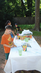 artists in the garden at Edward Hopper House; kids in art class, outdoor