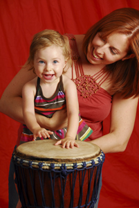 ABC Do-Re-ME; mommy and me music; mother and daughter playing drums