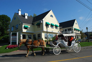Horse-drawn carriage, Kennebunkport, Maine; horse-drawn carriage in New England