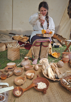 Susan McLellan Plaisted demonstrates Native American cooking and medicine making