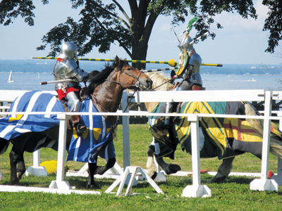 knights jousting at Sands Point Preserves' annual medieval festival