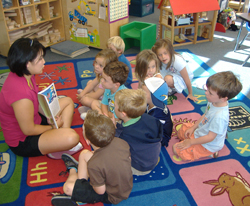 Lango of Rockland County, NY; story time in children's classroom
