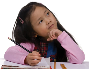 young child writing poetry; little girl writing notes, looking thoughtful