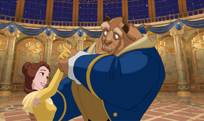 Disney's Beauty and the Beast movie; Belle and the Beast dancing