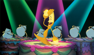 "Lumiere signing ""Be Our Guest"" in Disney's Beauty and the Beast movie"