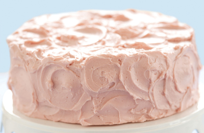 Divvies' vanilla layer cake with raspberry cream frosting; Divvies Bakery
