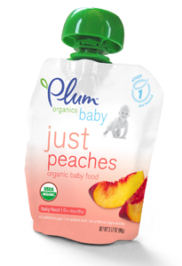 Plum Organics baby food, just peaches; organic infant food