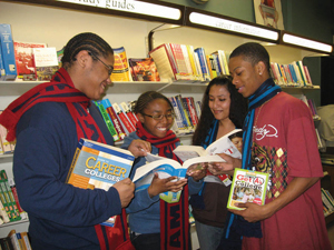 Queens Library; children reading at a library